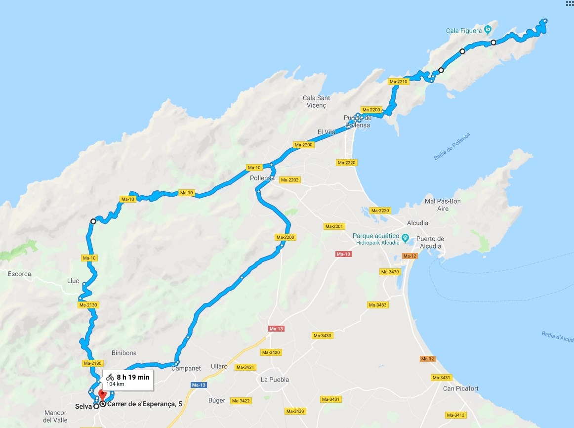 ruta ciclista al faro de formentor