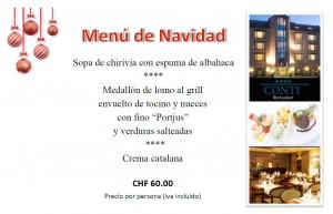 menu navidad hotel globales conti zurich suiza